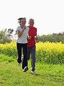 老年,夫妻,慢跑,公园