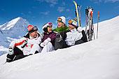 滑雪者,坐,雪中,放松,靠近,滑雪