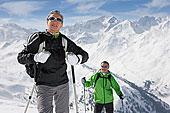 伴侣,远足,向上,滑雪坡,山