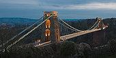 英格兰,城市,克利夫顿,吊桥,跨越,峡谷,黎明