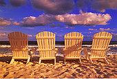 背影,沙滩椅,科祖梅尔,墨西哥