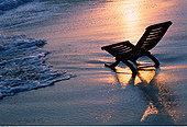 椅子,海滩,日落