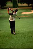 后视图,男人,打高尔夫