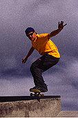 男人,滑板,研磨,扶手