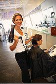 肖像,女性,发型师,弄干,女人,毛发