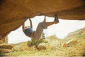 女人,攀岩,印第安,溪流,犹他,美国