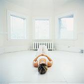 女人,躺下,地板