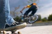 玩滑板,看,骑车,坡道