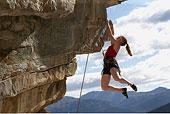 女性,攀岩者,悬挂,岩石面