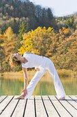 女人,练习,瑜珈,码头,萨尔茨卡莫古特,萨尔茨堡,奥地利