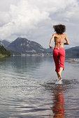 女人,跑,浅水,萨尔茨堡,奥地利