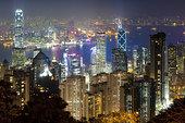 俯视,香港,天际线,夜晚,顶峰,香港岛,中国