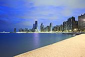 市区,天际线,夜晚,芝加哥,伊利诺斯,美国
