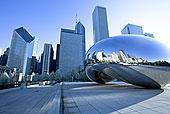 反射,密歇根大道,天际线,云门,芝加哥,伊利诺斯,美国