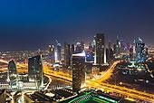 俯视,夜晚,迪拜,阿联酋