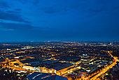 慕尼黑概况,从,奥林匹克塔,随着博物馆,在前景,在晚上,慕尼黑,巴伐利亚,德国