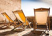 三个,折叠躺椅,石头,梯田,平台,晴天
