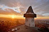 钟楼,城堡山,山,远眺,城市,早晨,格拉茨,施蒂里亚,奥地利