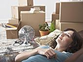女人,躺下,沙发,家,纸板箱