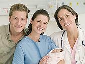 伴侣,拿着,婴儿,医院,医生