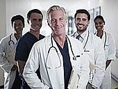 头像,微笑,医生,护理,医院,走廊