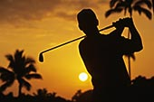 夏威夷,瓦胡岛,高尔夫球场,剪影,高尔夫球杆,橙色,日落,天空,无肖像权