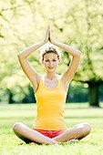 女青年,瑜伽练习,公园