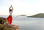 女人,岩石上,海边,瑜珈