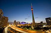 多伦多,天际线,高处,嘉甸拿高速公路,安大略省,加拿大