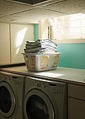 折叠,洗衣服,篮子,洗衣房