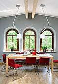 桌子,餐厅,高,吊顶,木地板,波兰