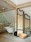 单独,上面,浴室,后面,乡村风格,卧室