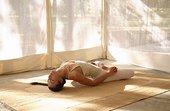 姿势,瑜珈,帐蓬,闲适,班加罗尔,印度,亚洲