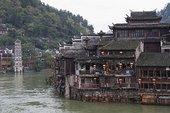 河边,老城,凤凰,湖南,省,中国,亚洲