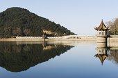 古老,桥,反射,水,水库,庐山,山,世界遗产,江西,省,中国,亚洲