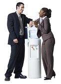 商务人士,交谈,水边,饮水机