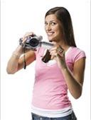 肖像,年轻,女人,拿着,家用摄像机