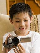 男孩,摄像机,微笑
