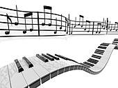乐谱,弯曲,后面,钢琴,按键,上方,白色背景