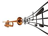 黄铜,短号,角度,弯曲,乐谱,吹灭,喇叭