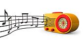 复古,20世纪50年代,无线电,音乐,音符,扬声器,白色背景