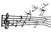 乐谱,音符,掉皮,飞