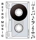 插画,旧式,磁带,音乐,音符
