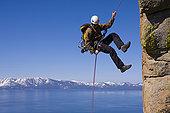 男人,绳降,悬崖,太浩湖,内华达,美国