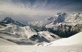 全景,积雪,山峦,尼泊尔