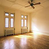 晴朗,空房,橡树,木质,地面,两个,彩色玻璃窗