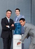 肖像,企业团队,填充,杯子,冷水机