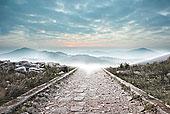 石头,小路,模糊,山脉