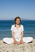 希腊,伊萨卡岛,女人,练习,瑜珈,海滩