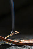 特写,木质,固定器具,熏香,烟